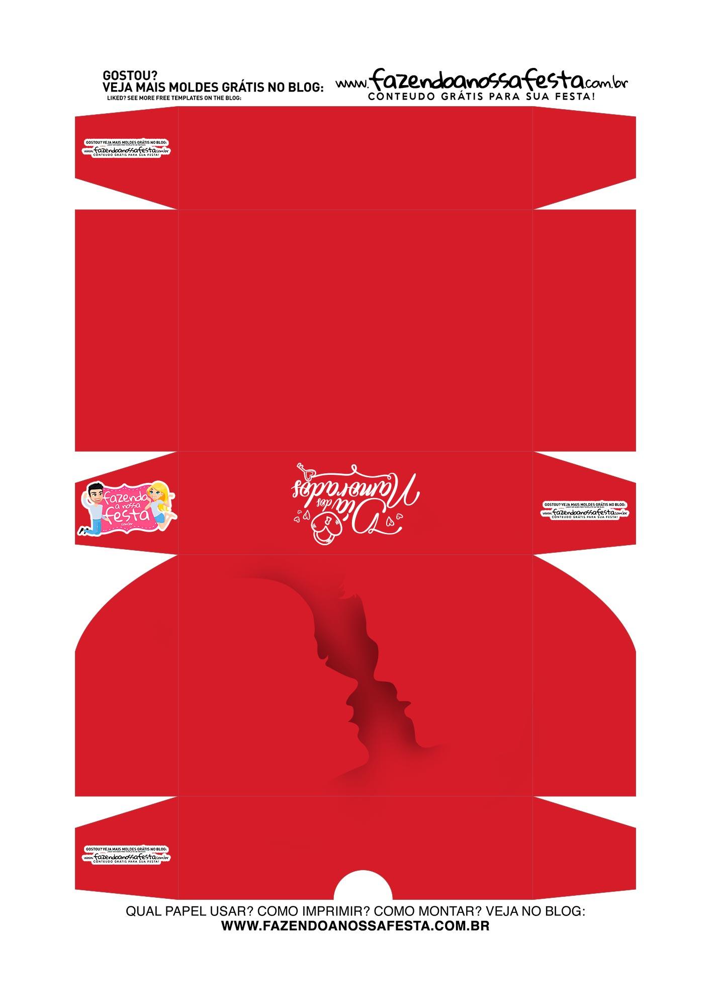 Caixa Brigadeiro Dia dos Namorados casal vermelha