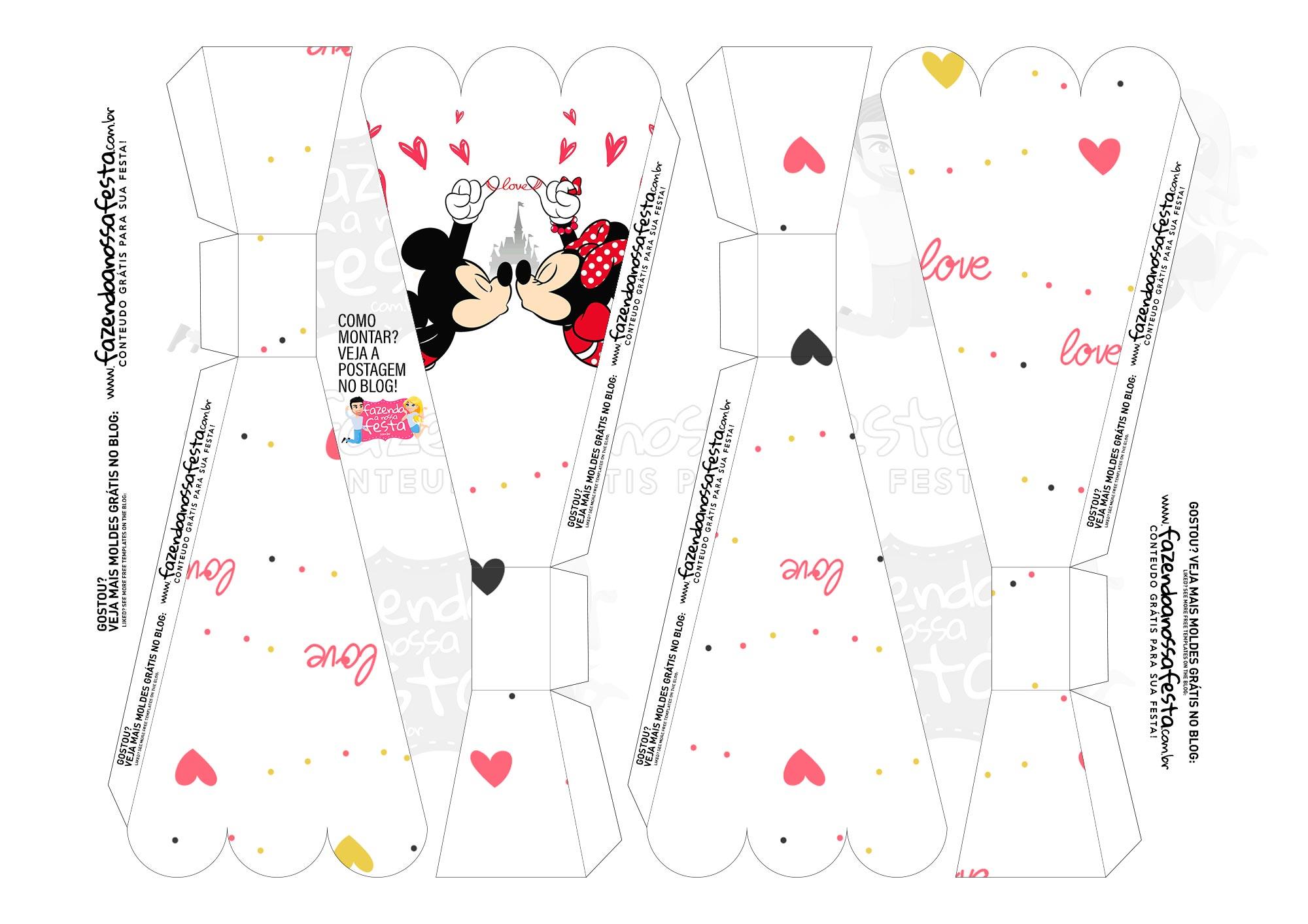 Caixa Buque Dia dos Namorados Mickey e Minnie