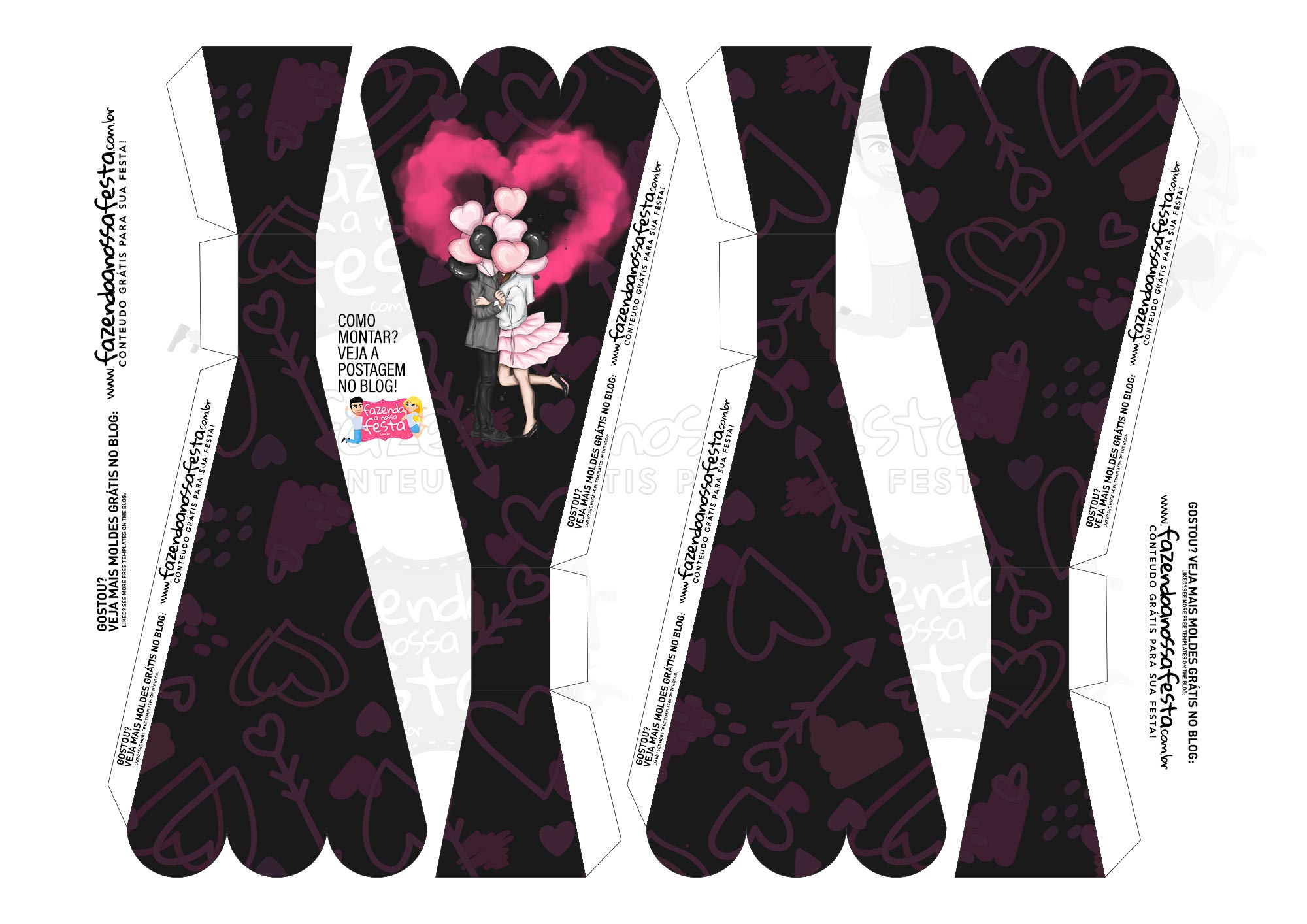 Caixa Buque Dia dos Namorados Preto e Rosa