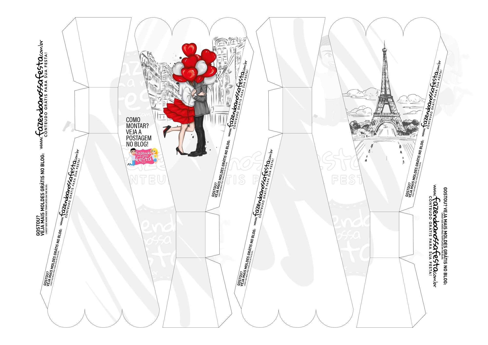 Caixa Buque Dia dos Namorados Vermelho e Cinza