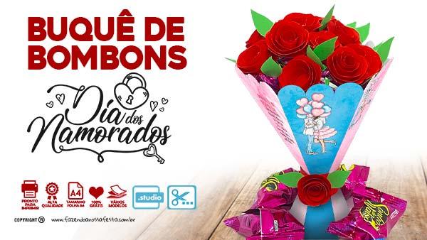 Caixa Buque Dia dos Namorados para Imprimir
