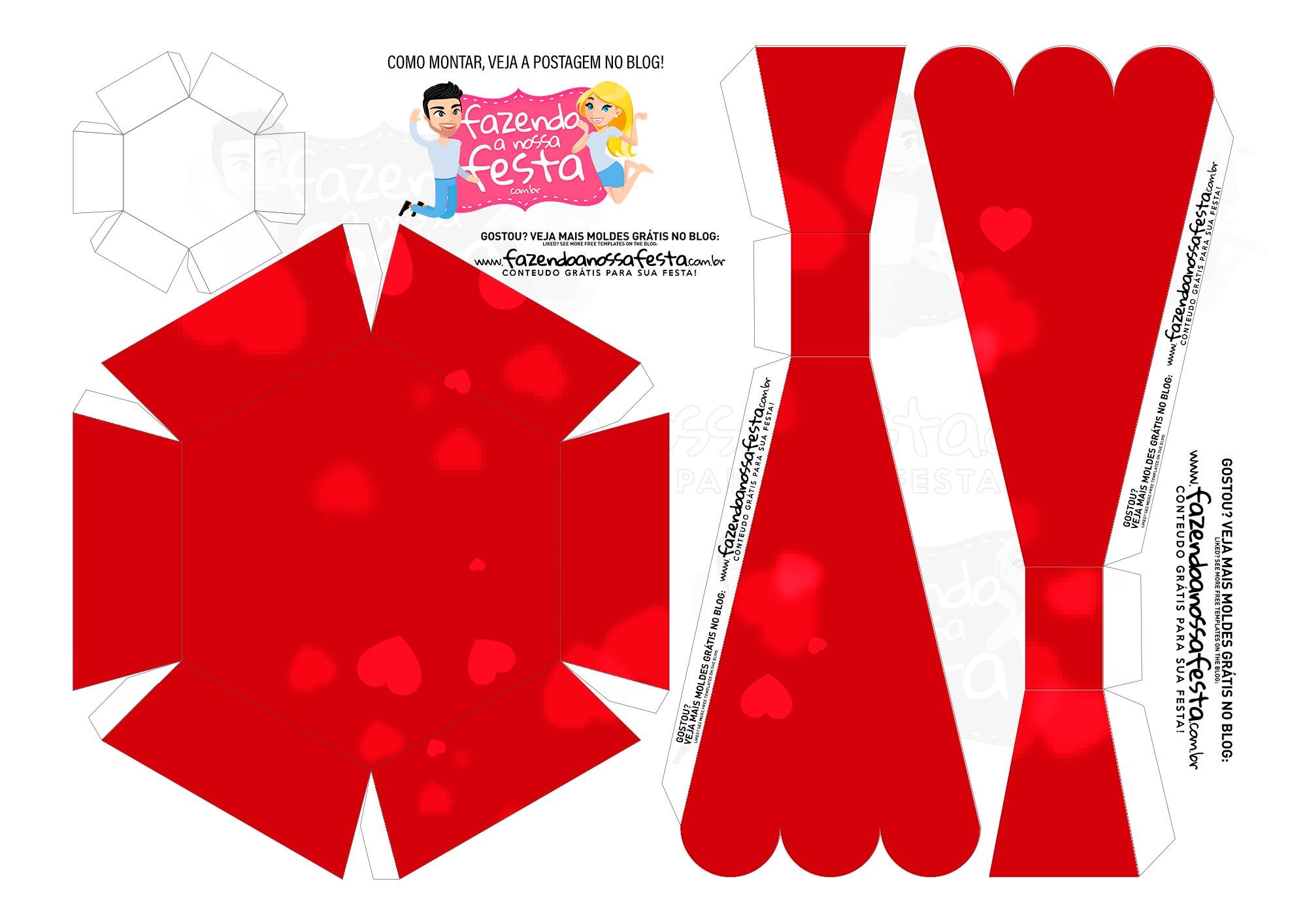 Caixa Buque Feliz Dia dos Namorados Vermelho