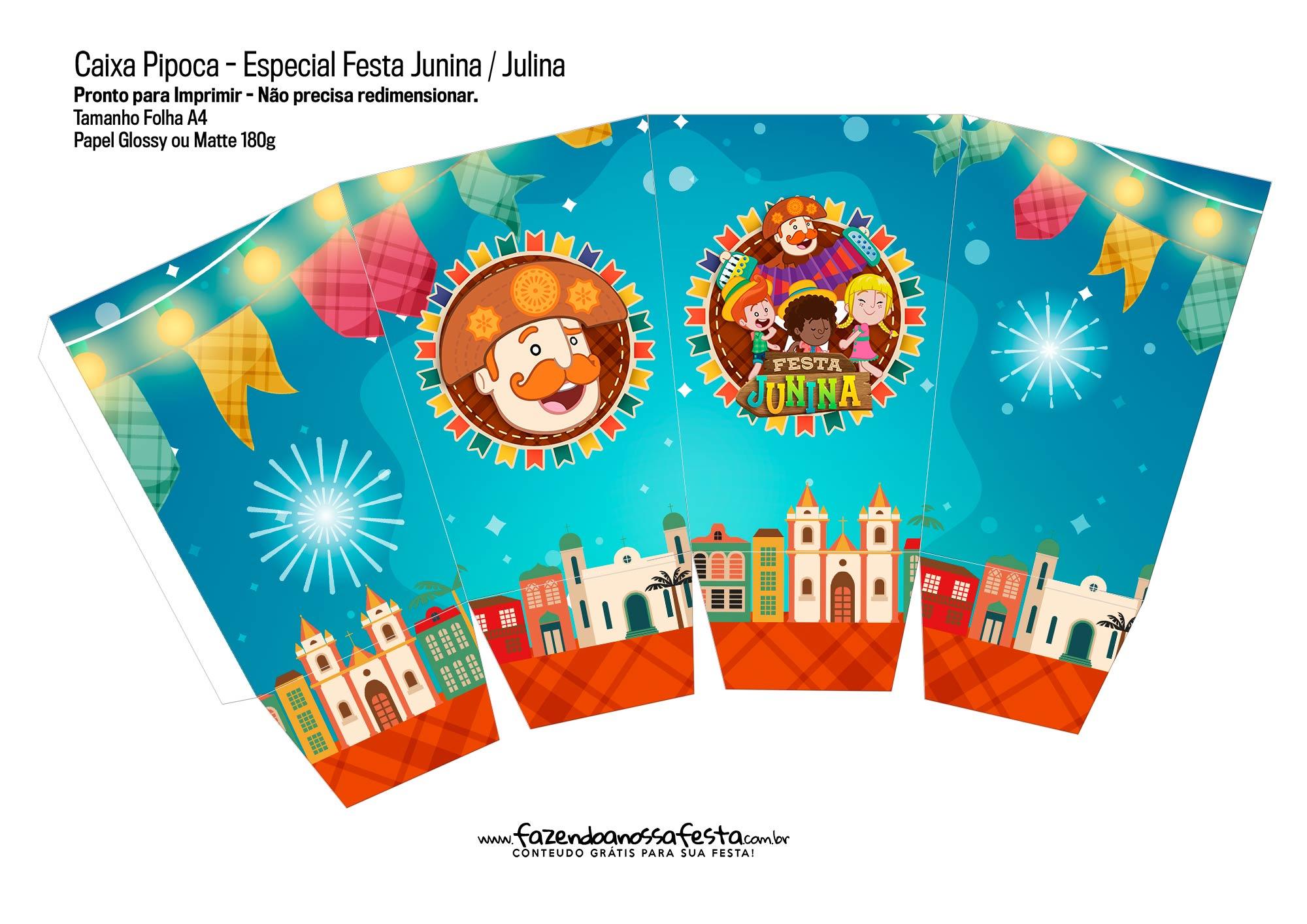 Caixa Pipoca Kit Festa Junina do Bita