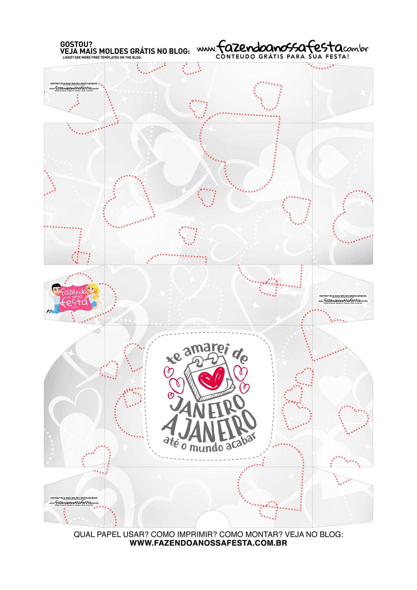 Caixa para 6 doces Dia dos Namorados De Janeiro a Janeiro