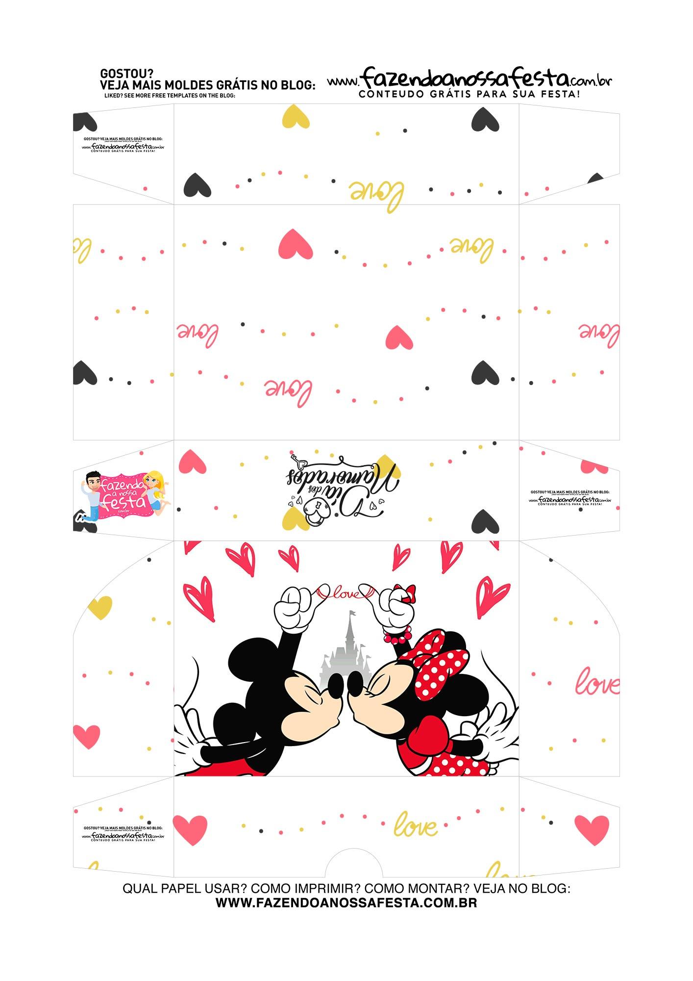 Caixa para 6 doces Dia dos Namorados Mickey e Minnie