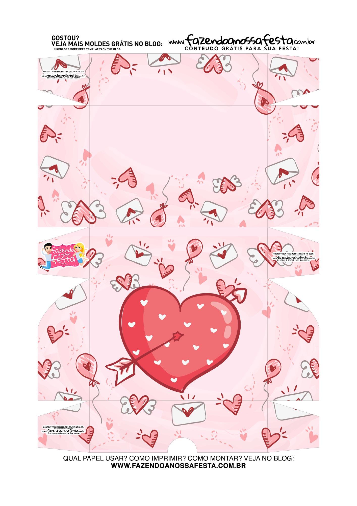 Caixa para 6 doces Dia dos Namorados