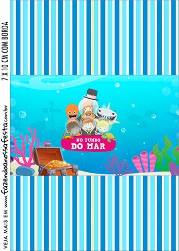 Adesivo Bala Personalizada Kit Festa Bita no Fundo do Mar