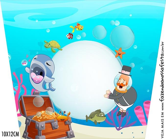 Adesivo Balde de Pipoca Kit Festa Bita no Fundo do Mar
