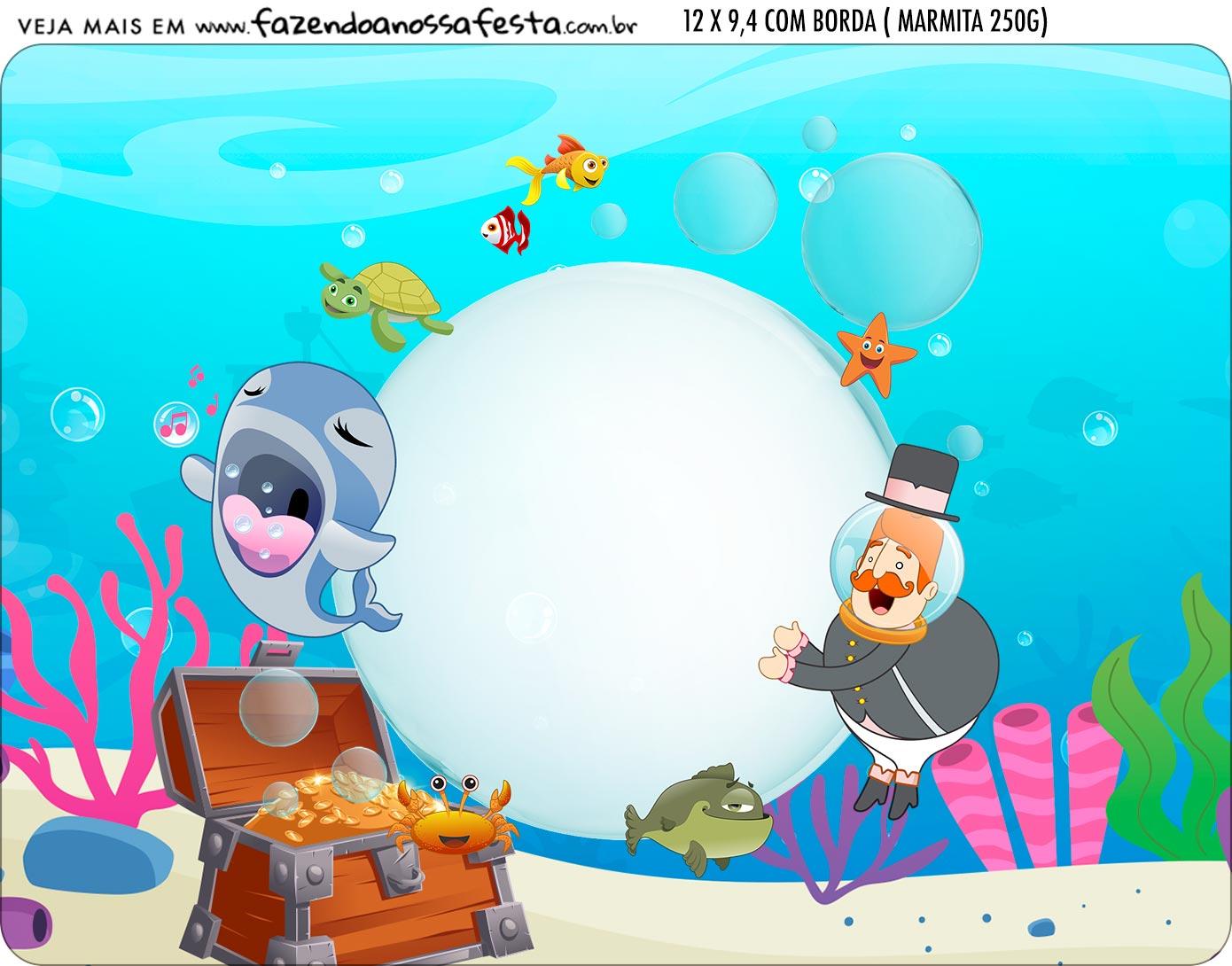 Adesivo Marmitinha Personalizada Kit Festa Bita no Fundo do Mar