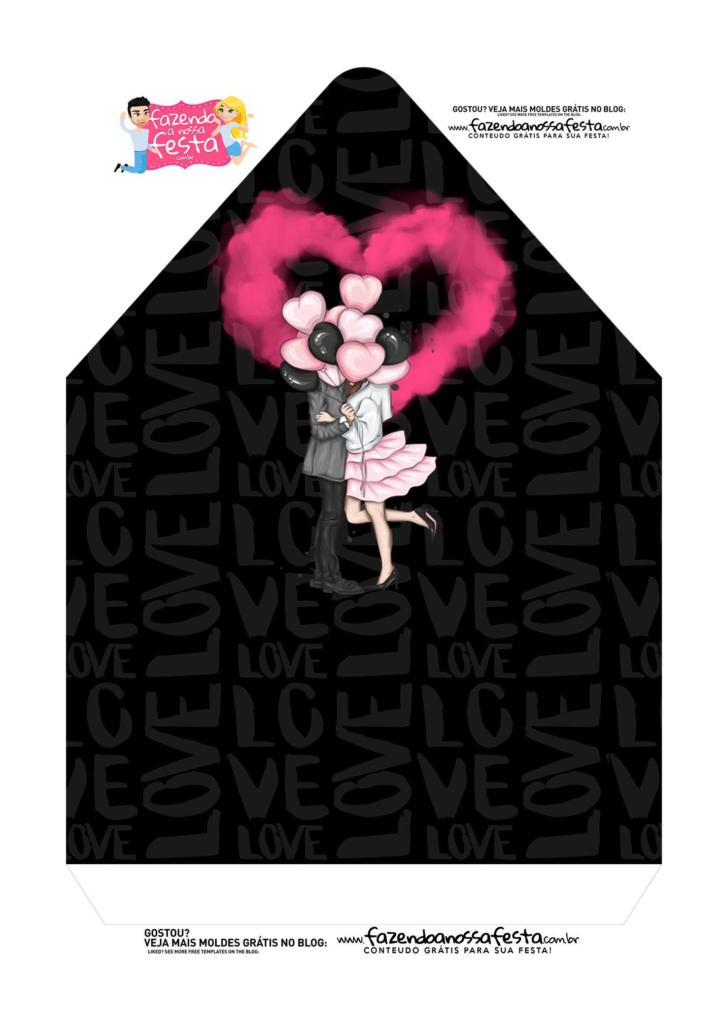 Caixa Envelope Casal Pink e Preto 2