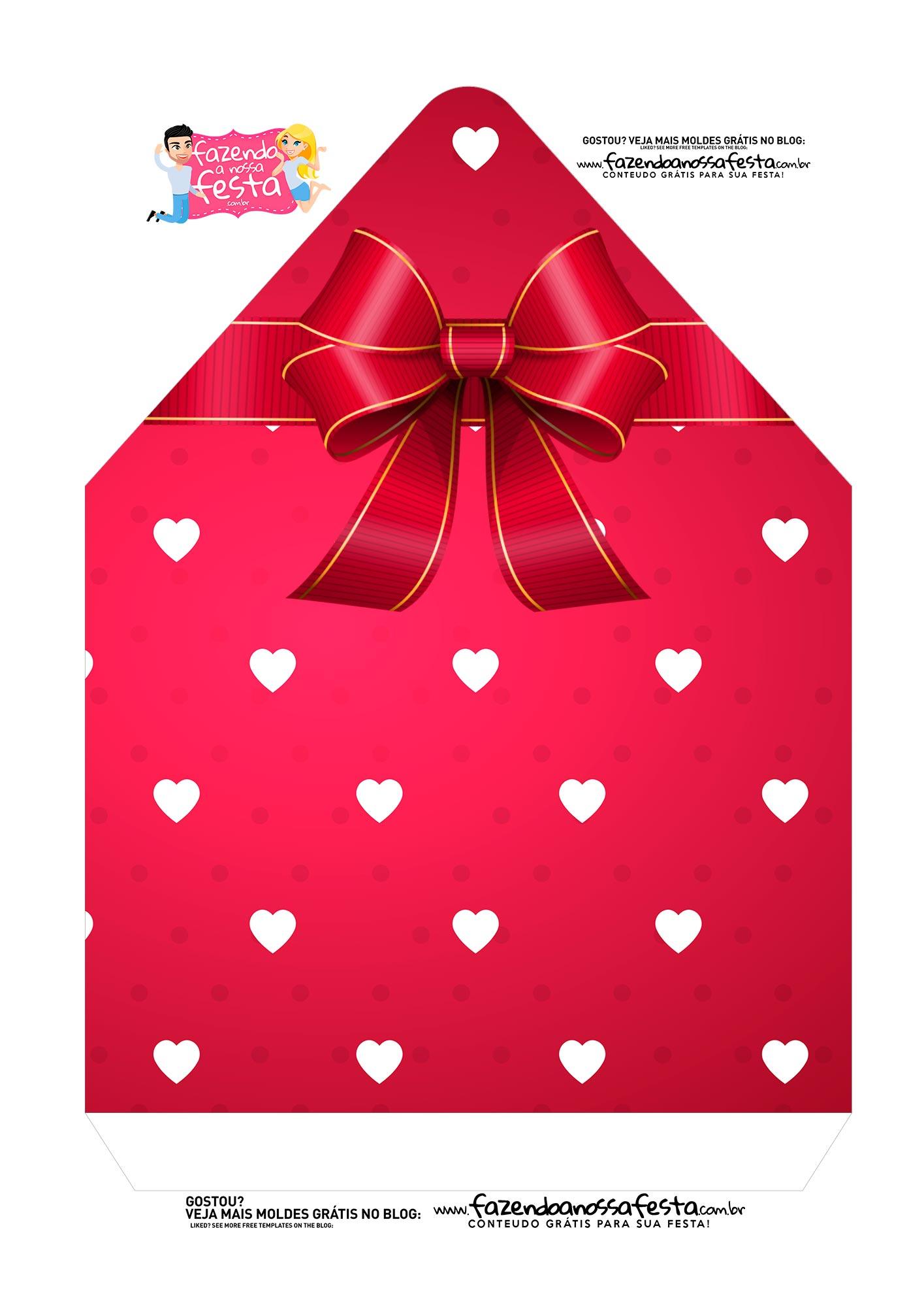 Caixa Envelope Vermelho Coracoes 2