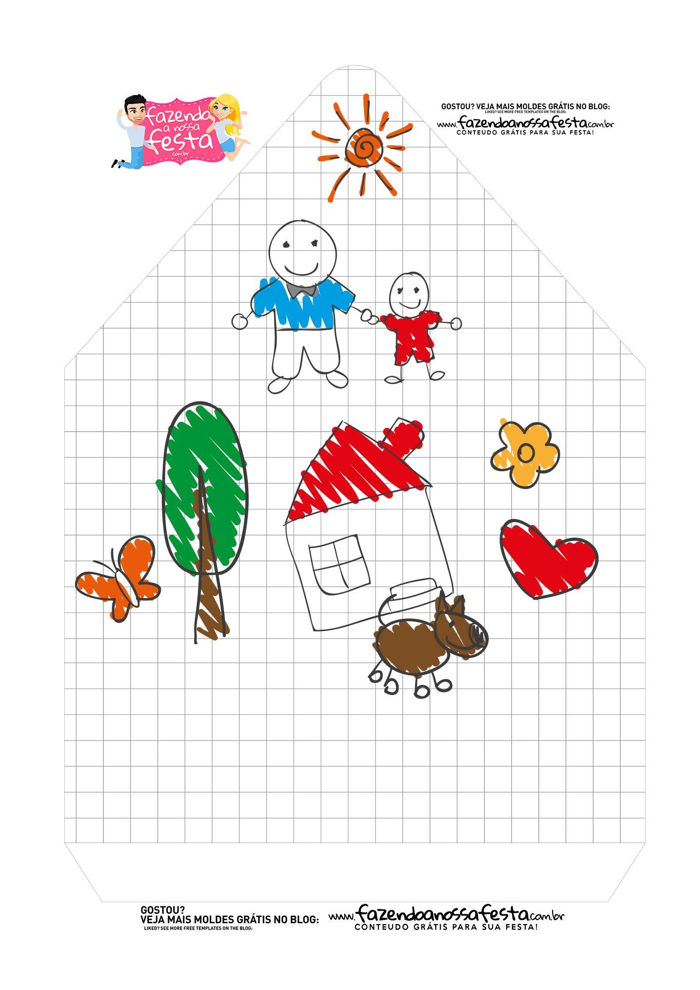 Caixa Envelope Desenho crianca Pai 2