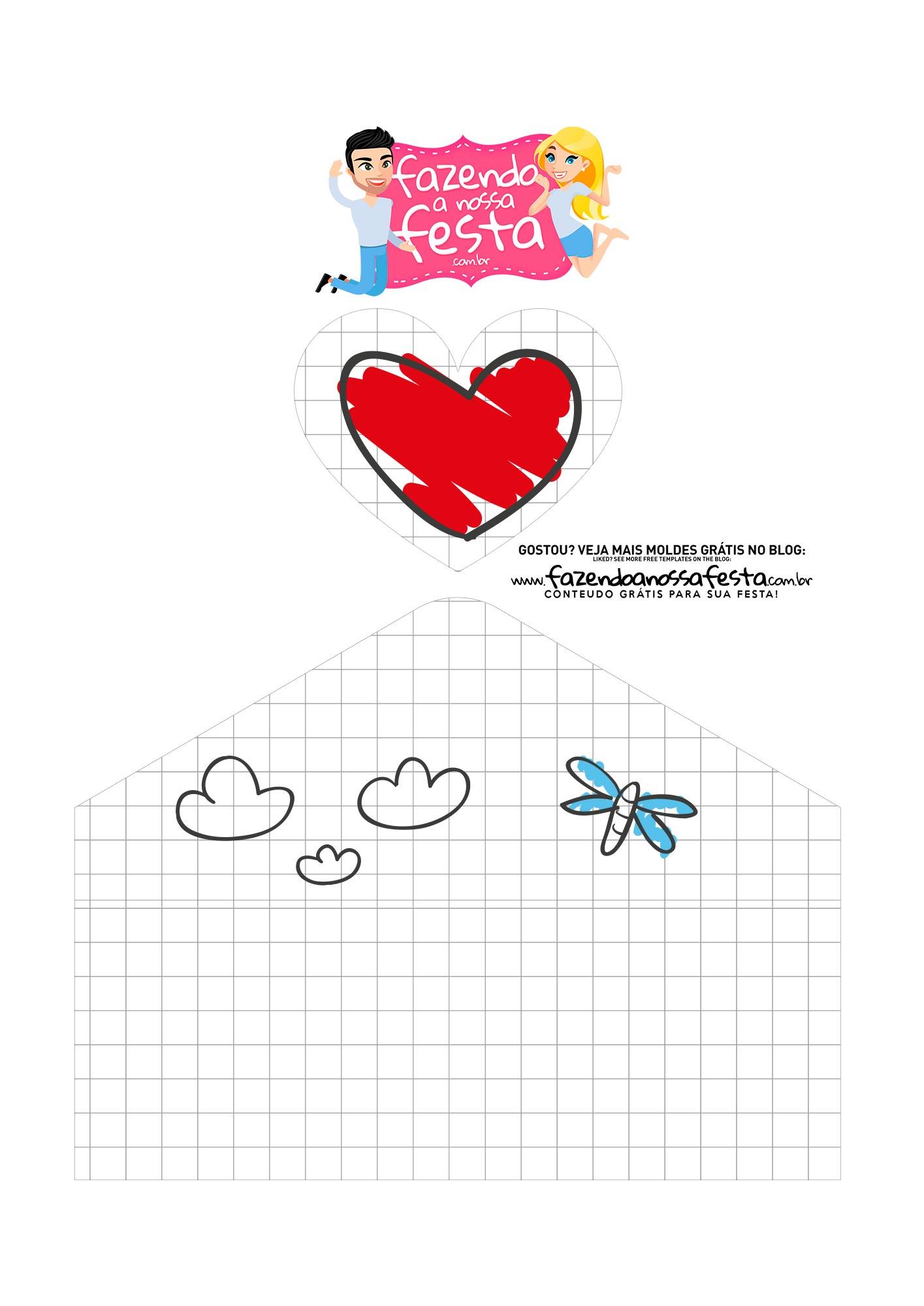 Caixa envelope Desenho Crianca Pai Menina 3