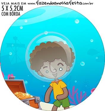 adesivo mini baleiro Kit Festa Bita no Fundo do Mar