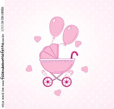Adesivo Caixa Acrilica Kit Festa Cha de bebe Menina