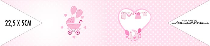Bandeirinha de Dois Lados Cha de bebe Menina