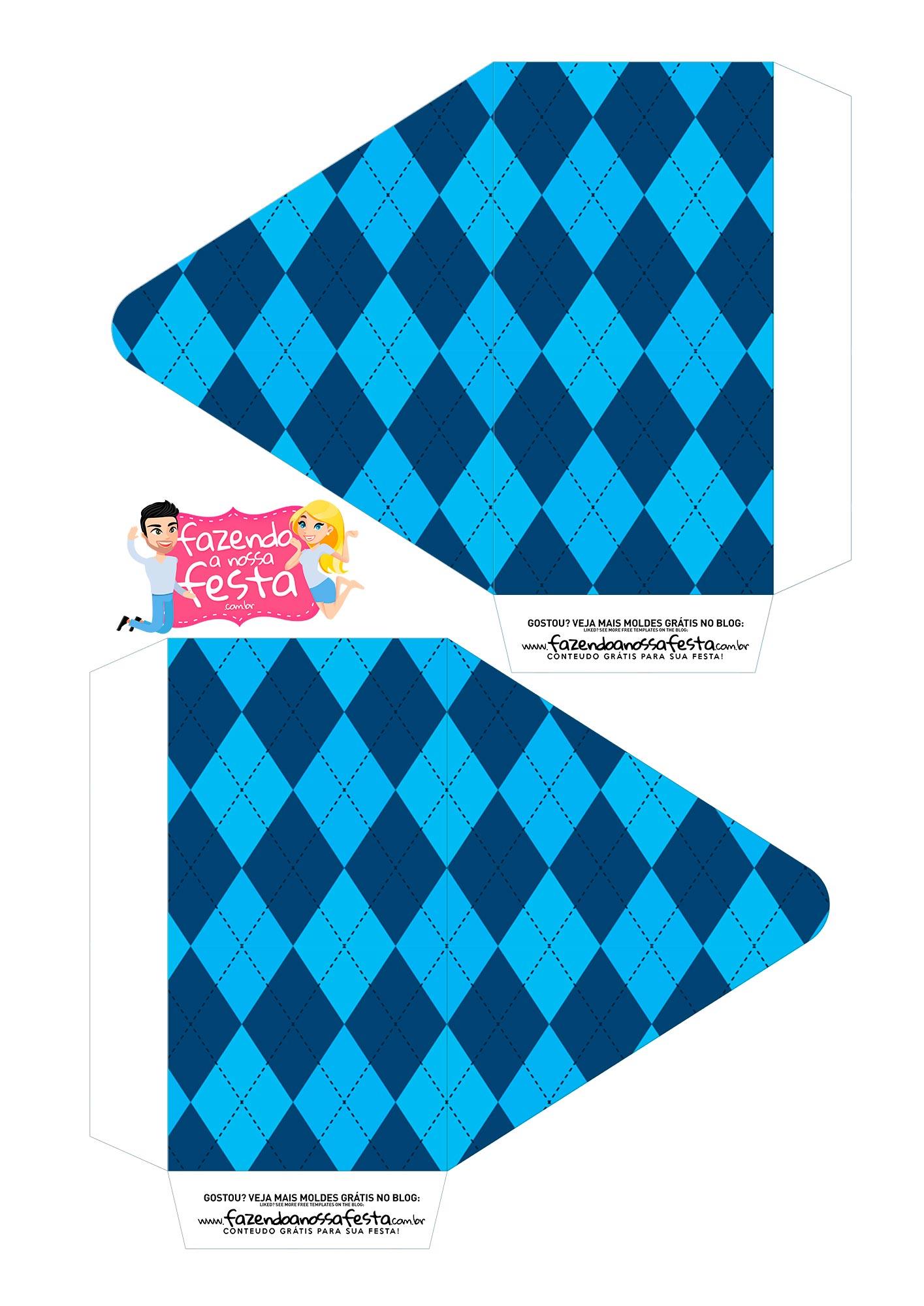 Caixa Dia dos Avos Vovo Azul quadriculado 1
