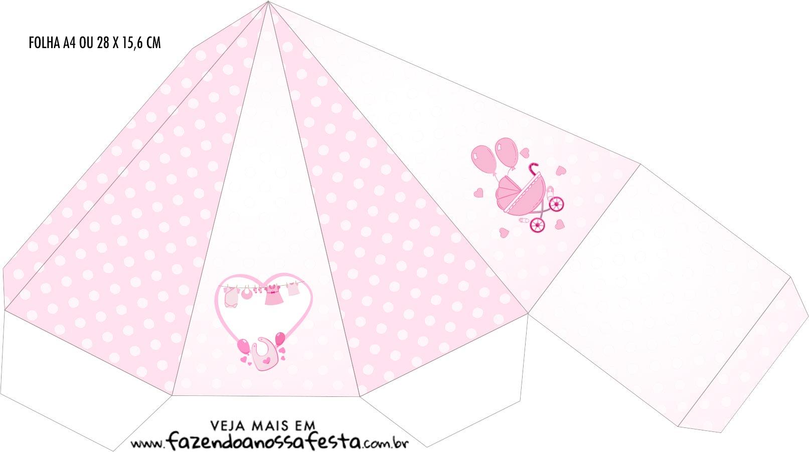 Caixa Piramide Cha de bebe Menina