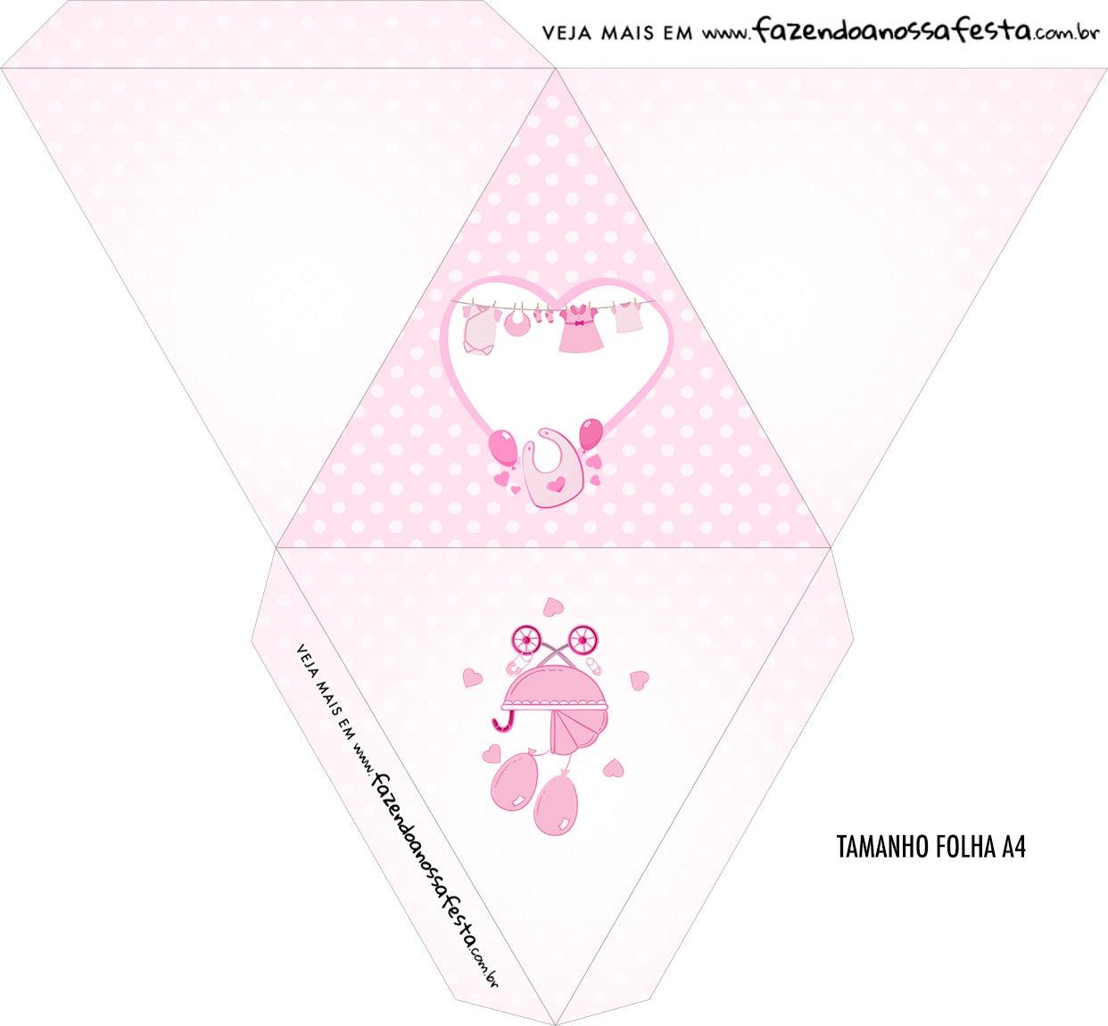 Caixa Piramide Personalizada Cha de bebe Menina