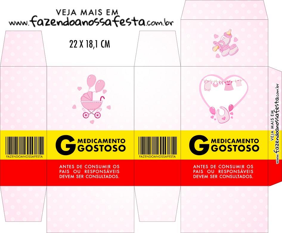 Caixinha de Remedio Personalizada Cha de bebe Menina