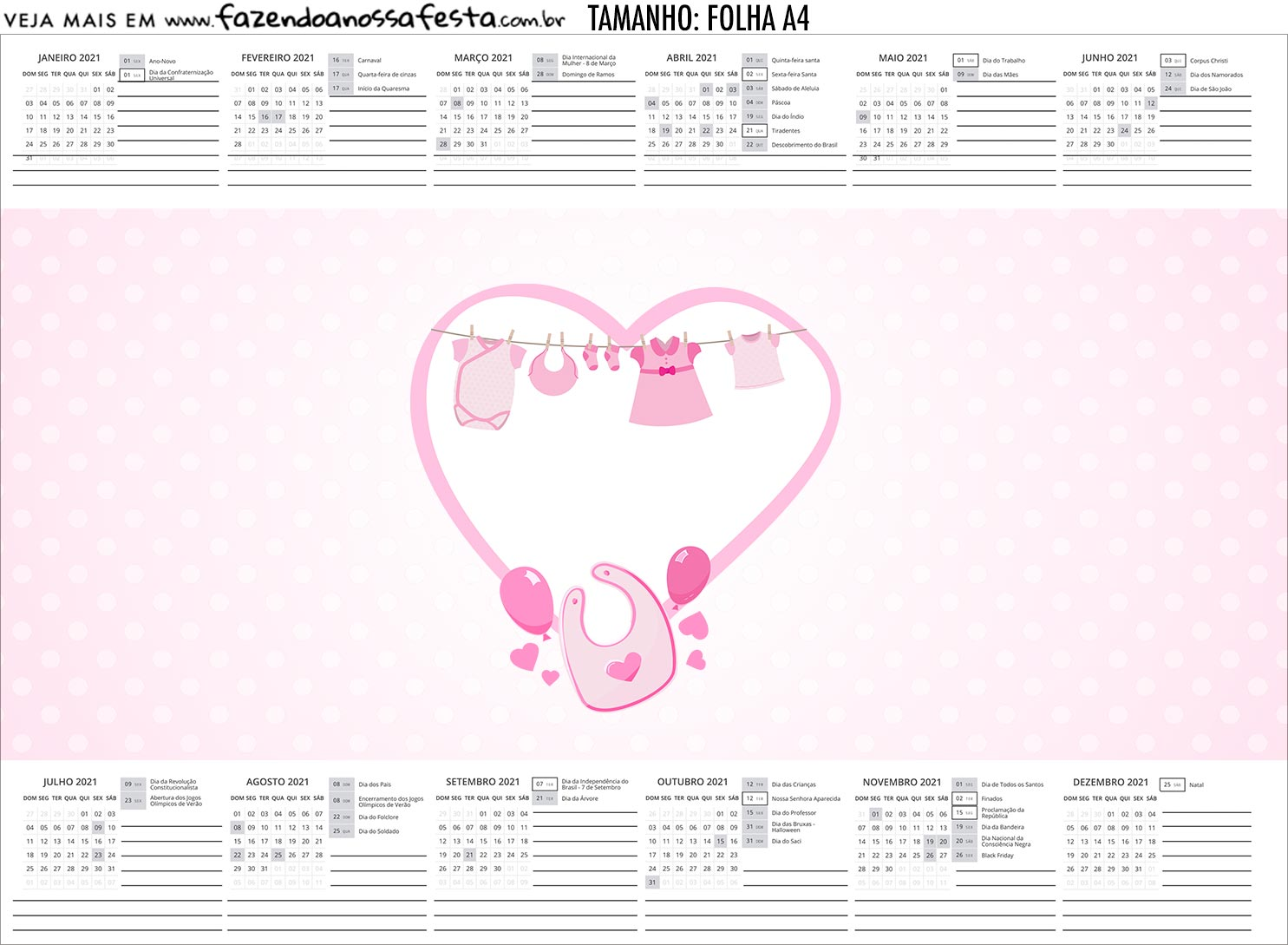 Calendario Personalizado 2020 Cha de bebe Menina