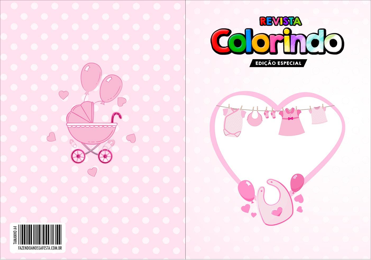 Capa Livrinho para Colorir Cha de bebe Menina