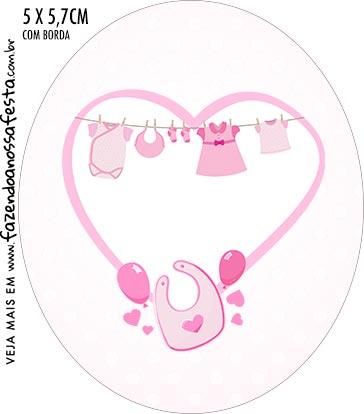 Rotulo Oval Cha de bebe Menina