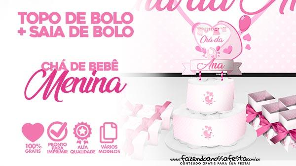 Topo e Saia de Bolo Cha de Bebe Menina