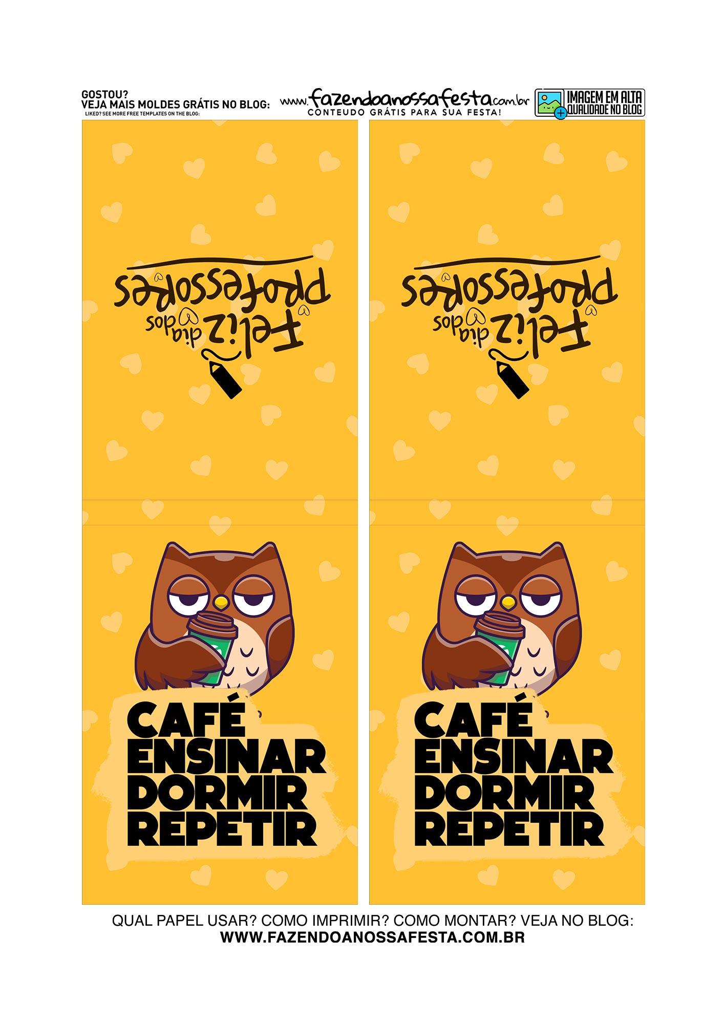 Bloquinho Dia dos Professores Coruja Cafe