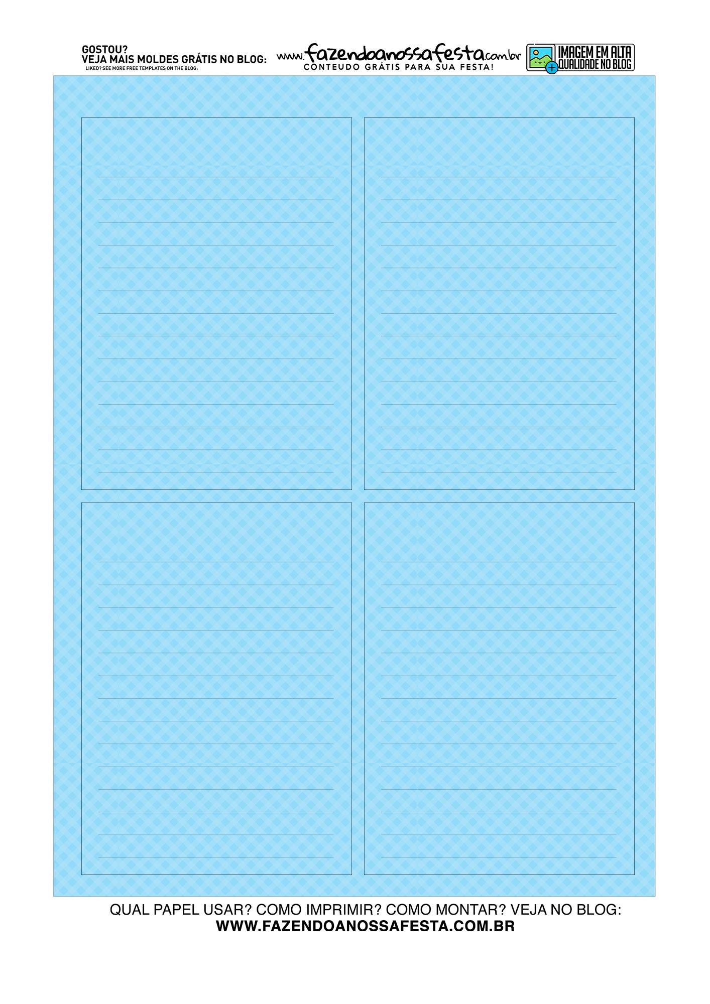 Bloquinho de anotacoes Lapis Azul folha frente