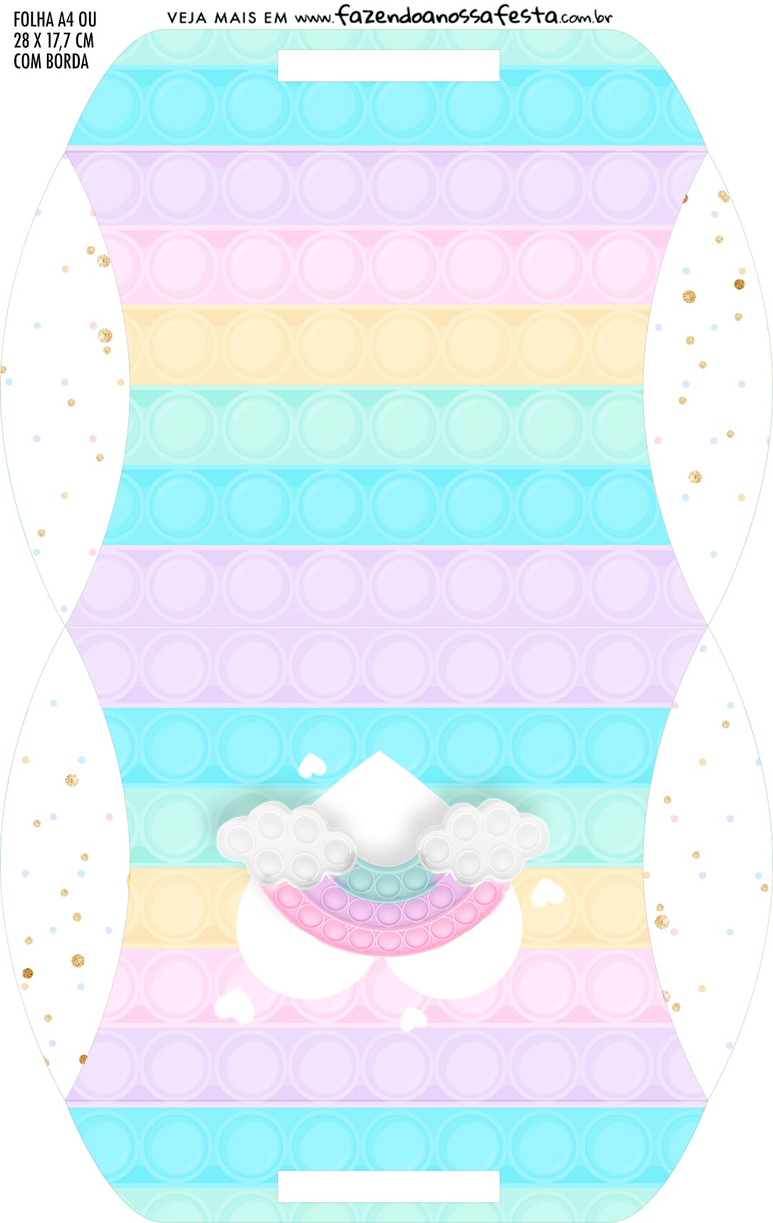 Caixa Almofada bolsinha Pop It Candy Color