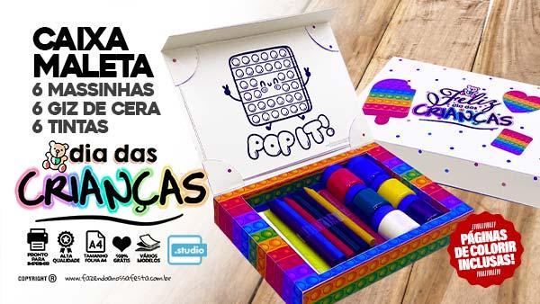 Caixa Maleta para colorir Dia das Criancas