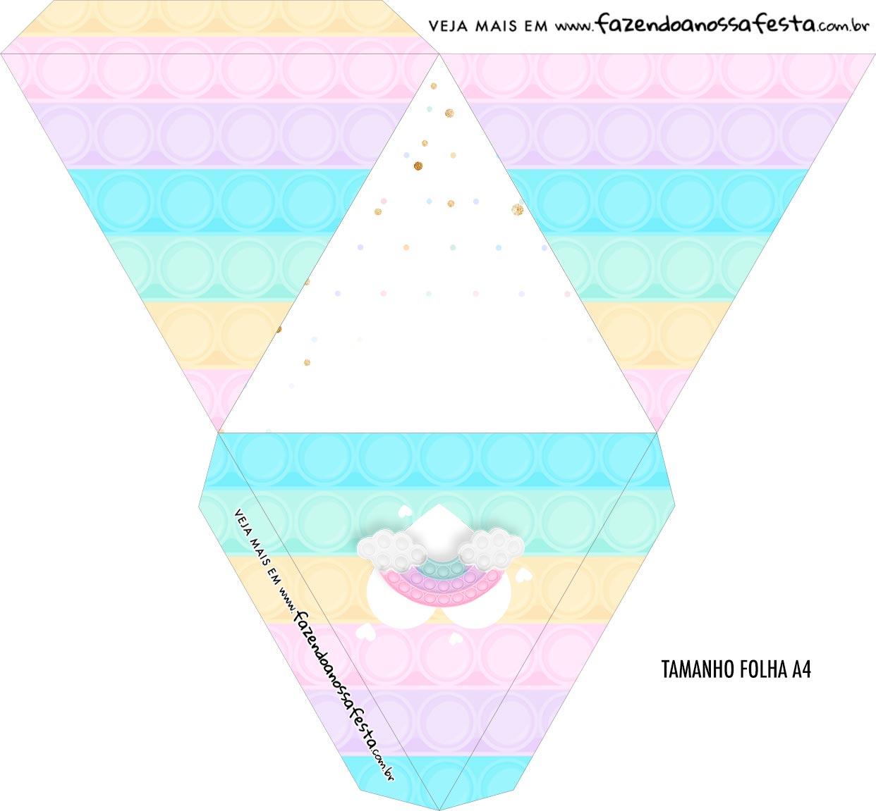 Caixa Piramide Personalizada Pop It Candy Color