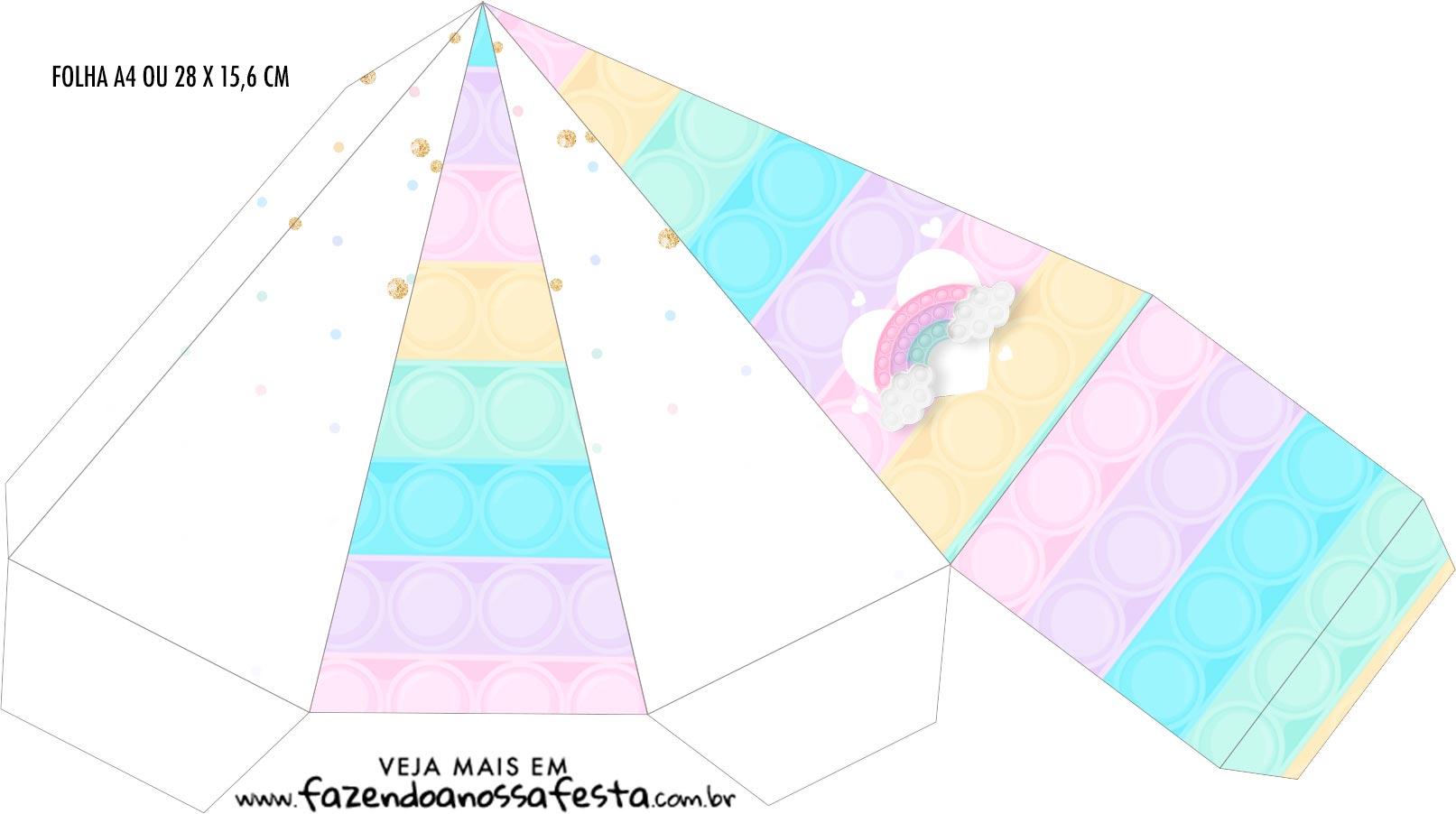 Caixa Piramide Pop It Candy Color