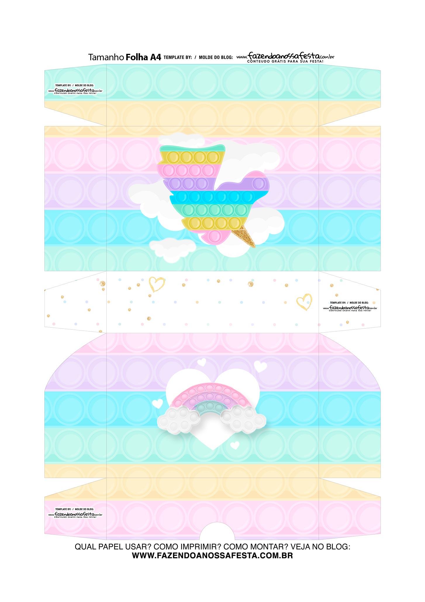 Caixinha de Docinho Pop It Candy Color