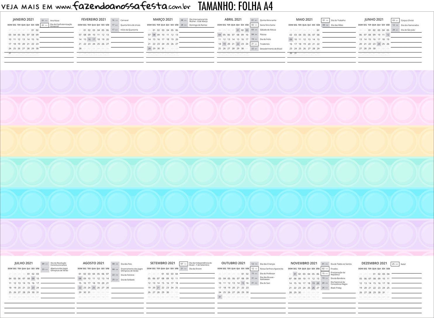 Calendario Personalizado 2020 Pop It Candy Color