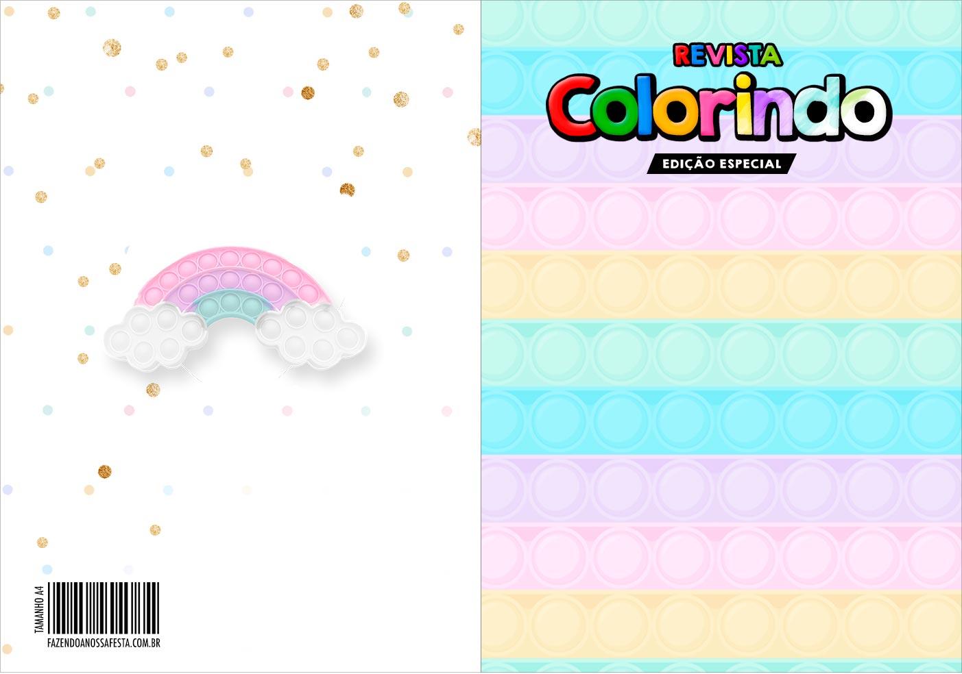 Capa Livrinho para Colorir Pop It Candy Color