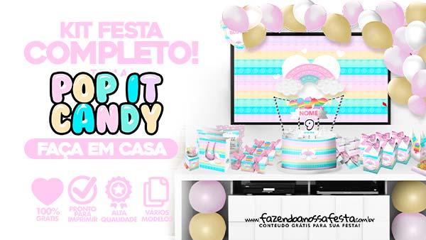 Kit Festa Pop It Candy Color para Imprimir