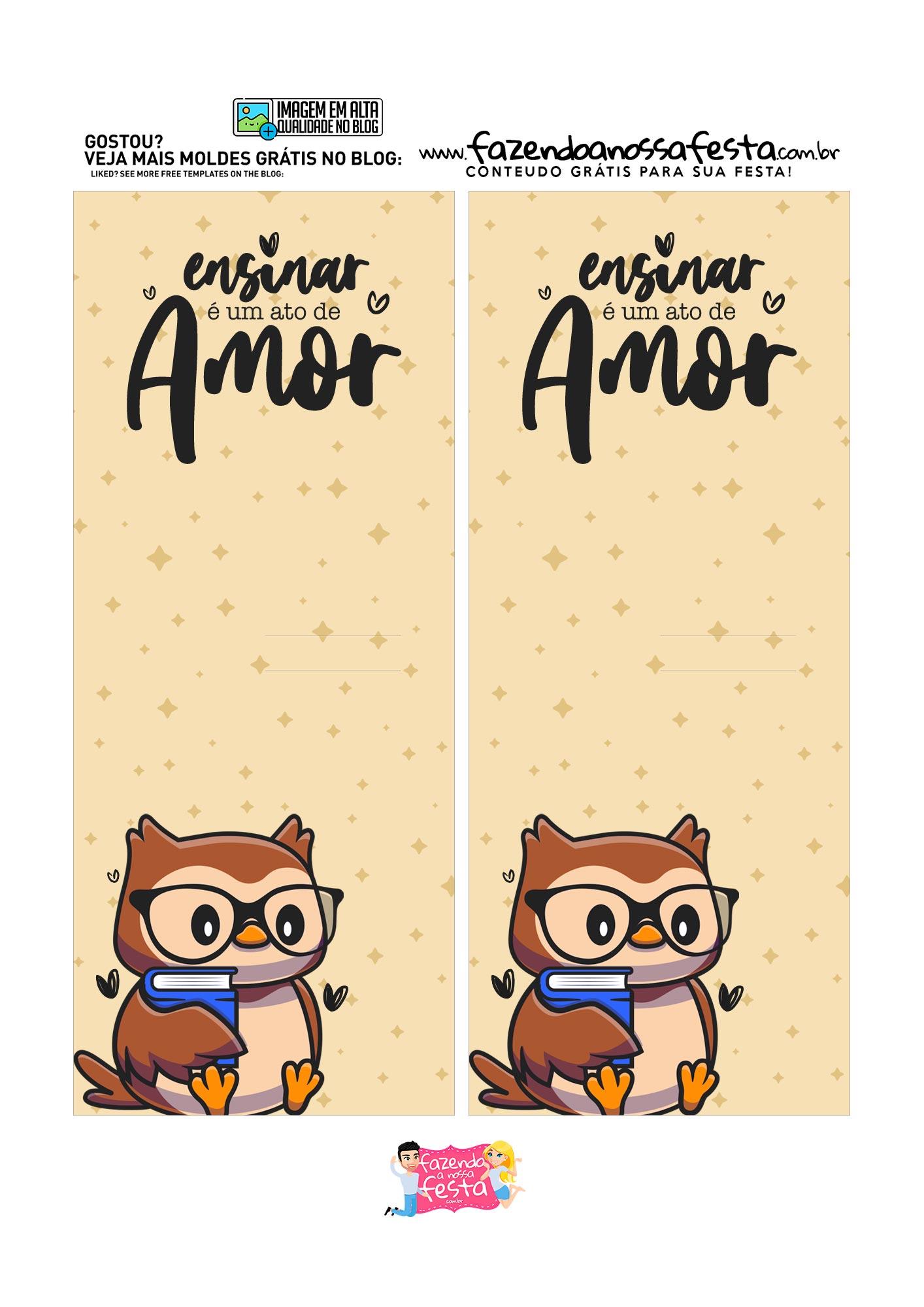 Cartão Lápis e Bala Dia dos Professores professor coruja Molde Base ensinar e um ato de amor