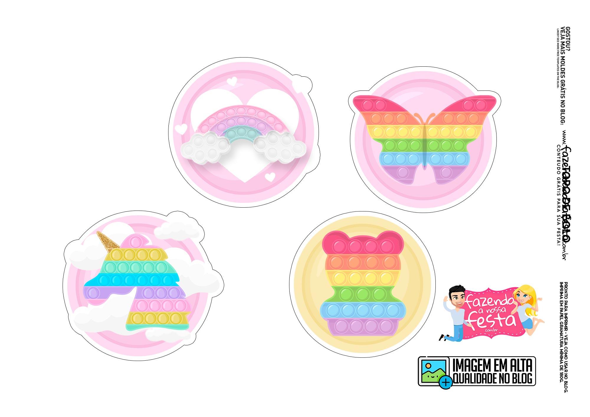Topo de bolo Pop It Candy Color 2