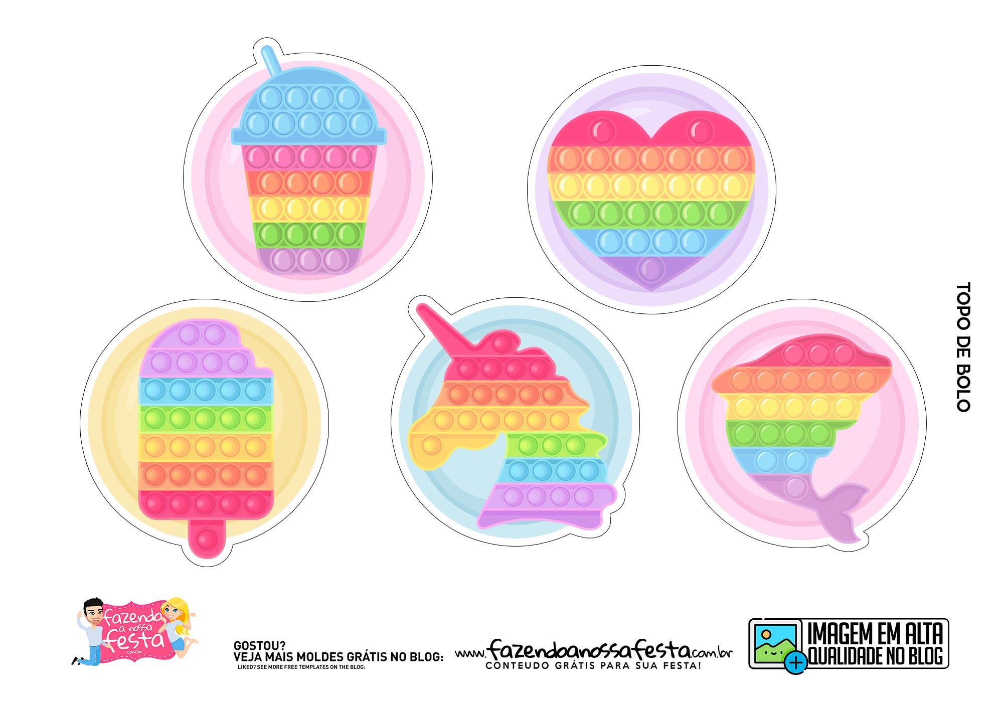 Topo de bolo Pop It Candy Color 3