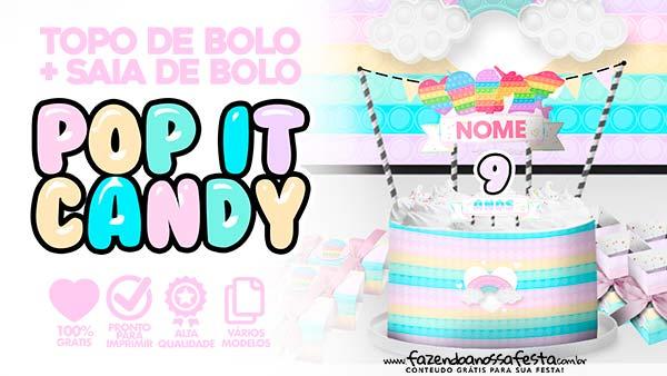 Topo de bolo Pop It Candy Color para imprimir