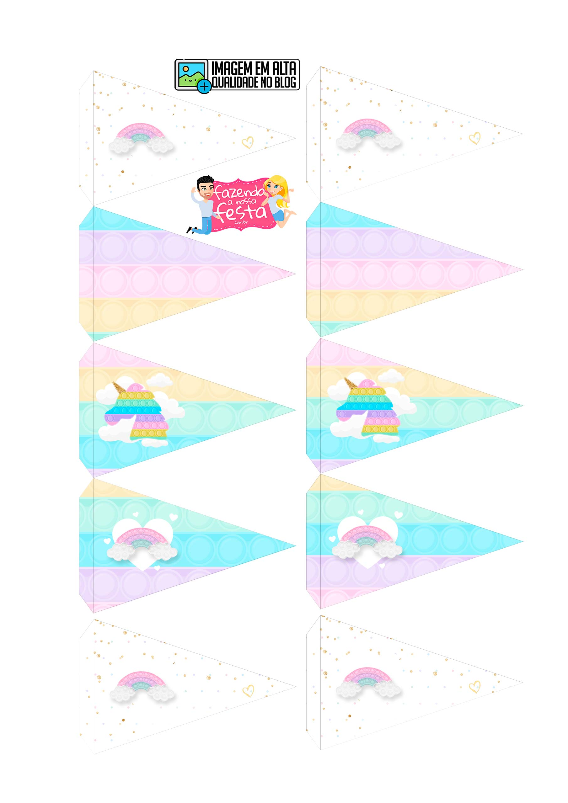 Toppers Bandeirinha Kit Festa Pop It Candy Color