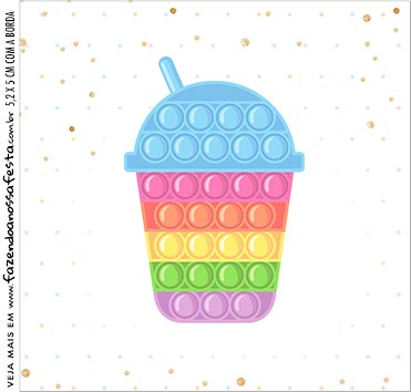 caixa de acrilico adesivo personalizado Pop It Candy Color