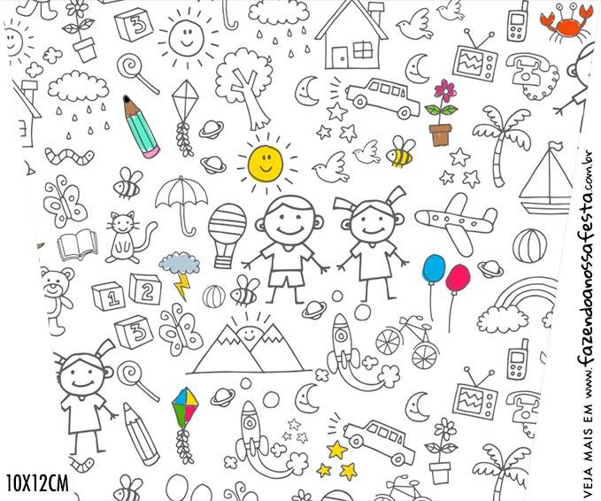 Adesivo Balde de Pipoca Kit Dia das Criancas para colorir