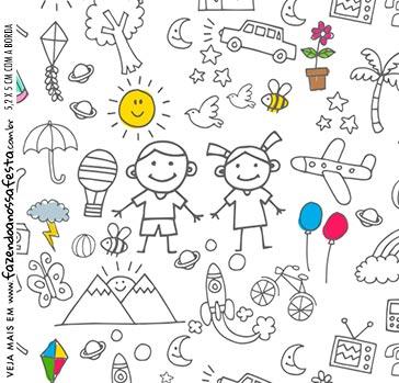 Adesivo Caixa Acrilica Kit Dia das Criancas para colorir
