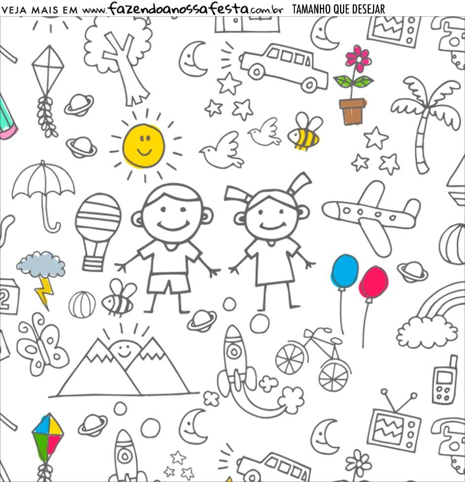 Adesivo Dia das Criancas para colorir