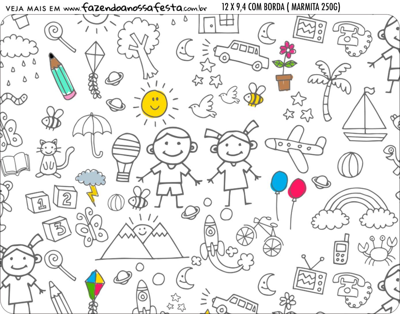 Adesivo Marmitinha Personalizada Kit Dia das Criancas para colorir