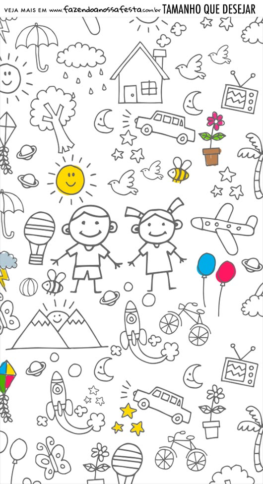 Adesivo Para Imprimir Kit Dia das Criancas para colorir
