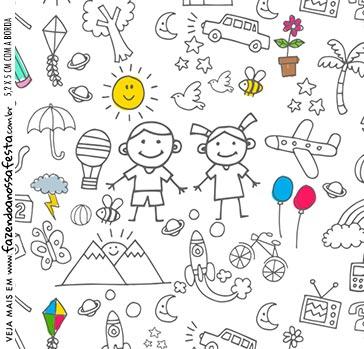 Adesivo Quadrado Kit Dia das Criancas para colorir